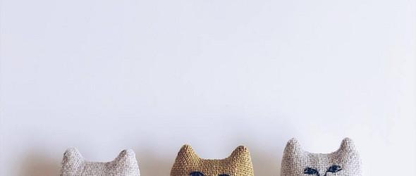 萌哒哒的猫猫造型刺绣玩偶与绣花胸针 - 日本刺绣作家 nekogao 清新细腻的刺绣艺术