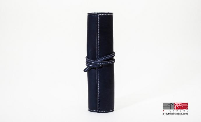 一个符号手工皮制牛皮笔袋 堪比德国 施德楼STAEDTLER 卷帘笔袋