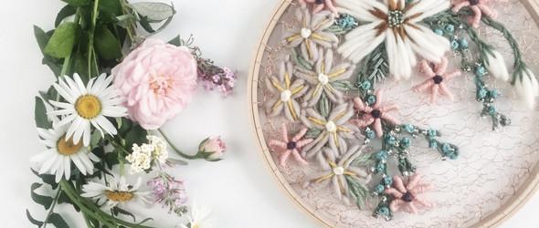 独特而美丽的毛线刺绣 | 美国手工艺人 Andrea(O&Y Studio)刺绣花卉作品精选
