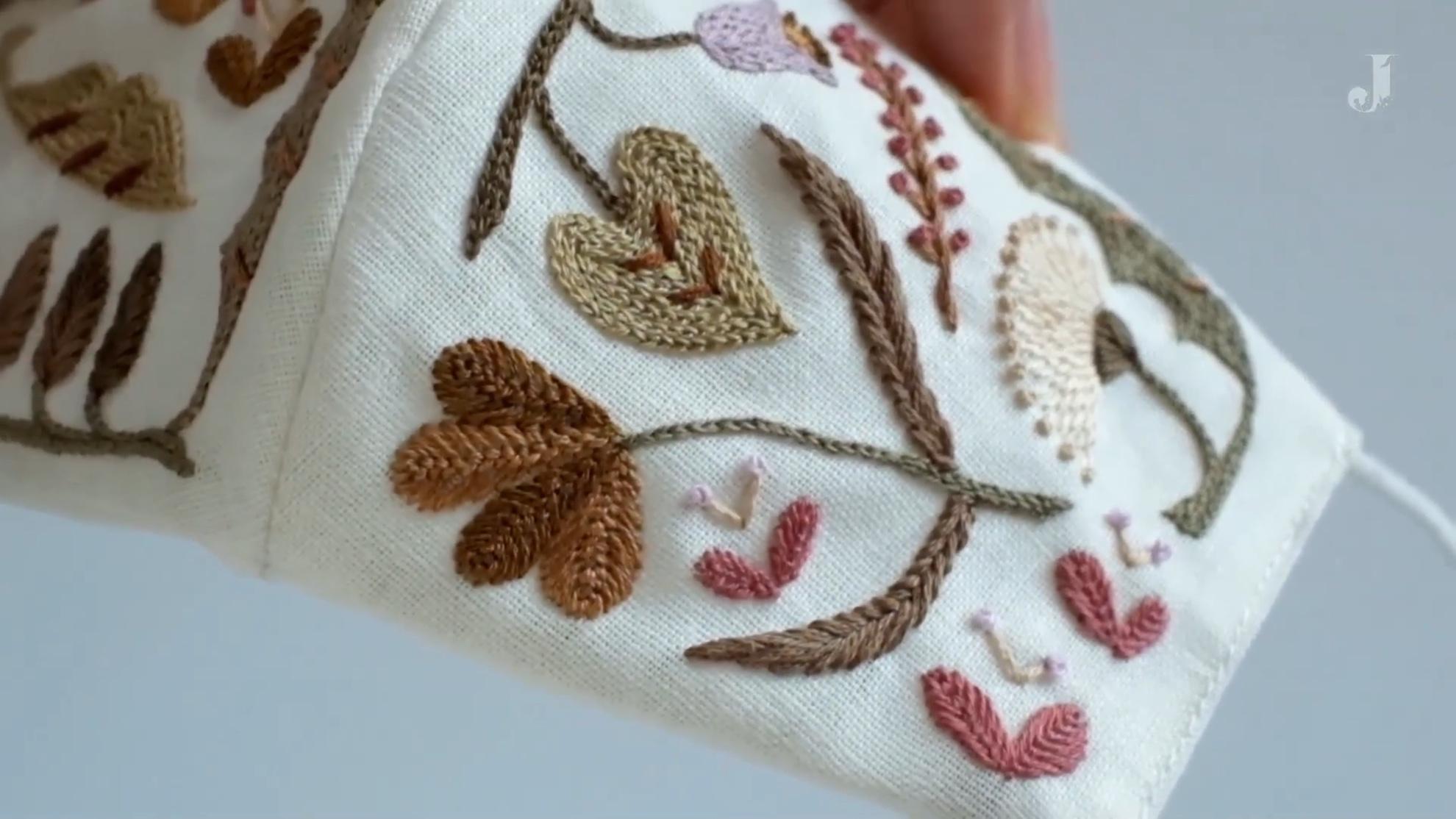 DIY手工法国绣视频教程:克里特绣(Cretan stitch)与飞鸟绣(fly stitch)