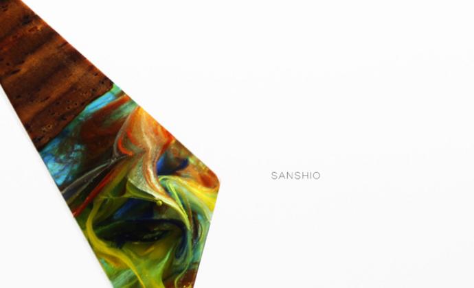 善术SANSHIO纯手工树脂与木吊坠情侣款毛衣链文艺范简约百搭极简项链项坠包邮