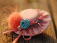 布艺花朵小帽子头饰头花毛线编织发饰毛绒绒唯美发夹边夹原创手工
