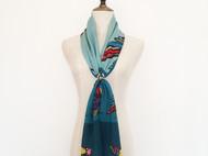 斑斓·飞鸟 原创设计孔雀蓝真丝围巾