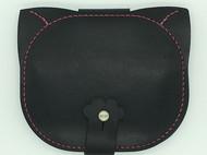 【DIY已打斩皮革材料包】黑色意大利植鞣革头层牛皮可爱猫咪卡包钱包