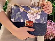 吴小姐的店--浅紫·紫山茶翻盖式手工包