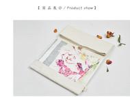 川朴艺术设计西湖美景真丝亚麻拼接ipad包