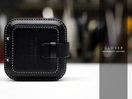 柯乐伯手工皮具-原创设计4代耳机盒-buttero黑皮白线
