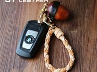 植鞣牛皮编织钥匙扣 车钥匙扣 牛皮钥匙链 手工养牛绳