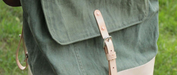 美国大兵旧军装改造:旧军装+皮革,手工制作帆布皮革双背包过程和教程