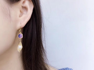 14K注金绕线--珍珠烤晶耳坠