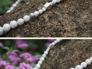 隐机者 天然白松石原石珠子 925纯银手工银件 限量毛衣链短项链