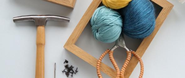 缝合针+粗绒线+木制画框:编织风景画框DIY手工制作教程