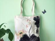 原创手绘包 单肩包 荷花帆布包 送礼物最佳选择 可清洗