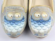 祖母绣堂猫头鹰手绣真丝绒吸烟鞋 设计师品牌