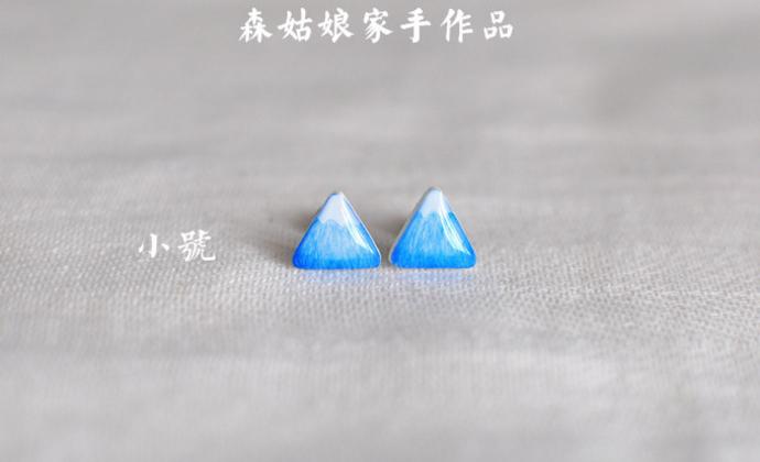 【森姑娘家】富士山耳钉 手绘热缩片耳钉 大小可选