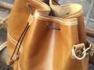 【旧物】monster-66手工手缝原创复古系咖啡色牛皮水桶包