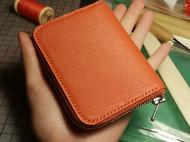 纯手工橘色山羊皮钥匙包