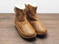 守根手工鞋 34.5-42尺码 女士冬季保暖棉靴防滑棕色雪地靴