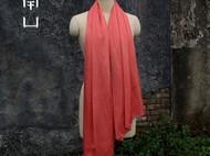 南山草木染原创自制桑蚕丝真丝苏木染西瓜红色女士长款时尚围巾