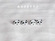 【森姑娘家】熊猫耳钉 手绘热缩片耳钉