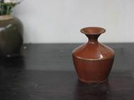 元代褐釉盘口瓶