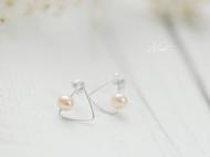 手工绕线简约气质天然珍珠纯银耳钉