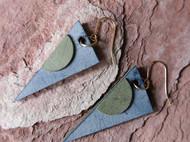 【撞色几何】原创孤品手工设计皮质拼色14k金耳钩耳坠
