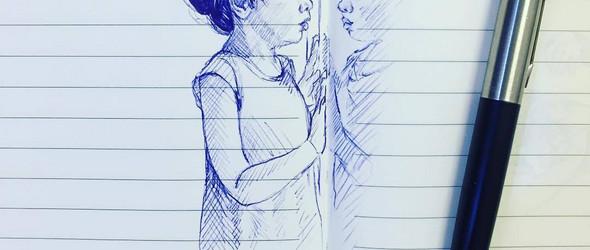 她每天为孩子手绘一张简单的圆珠笔插画,却画尽了孩子的可爱卖萌!