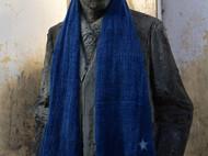 南山草木染原创自制蓝染限量进口面料复古粗质感男女士麻围巾围脖