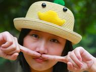 张可爱春夏原创亲子款手工草帽甜美海边遮阳帽卷边帽 小鸭 米色