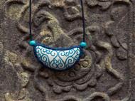 『祥纹』藤蔓青花瓷原创手工刺绣短项链锁骨链民族文艺风