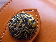 意大利植鞣革 纯铜骷髅扣复古中号财布