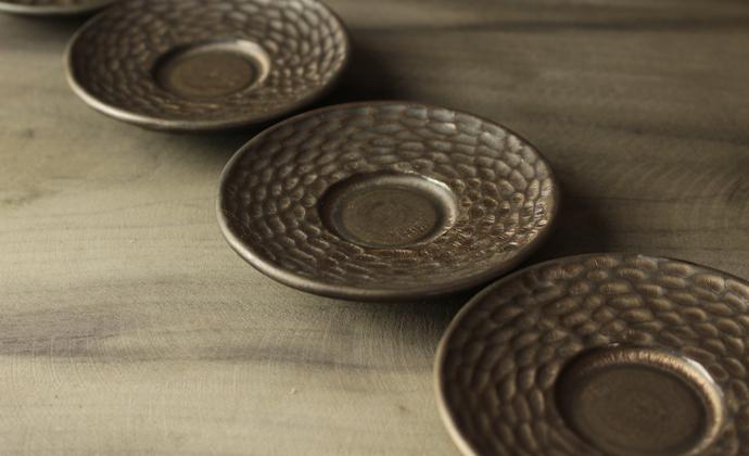 纯手工复古仿古茶具日式禪風茶道細陶茶壶 功夫茶具-手刻纹杯托