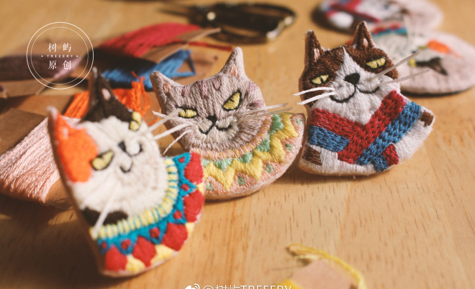 刺绣猫咪胸针预订材料包视频教学