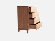 静研设计北欧日式简约左右斗柜床头柜红橡木胡桃木纯实木榫卯