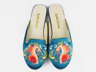 ZUMUSHOW祖母绣堂 鲤鱼手绣真丝缎平跟拖鞋 设计师品牌