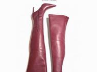 上海 Unfettered 私人订制 酒红色过膝长靴