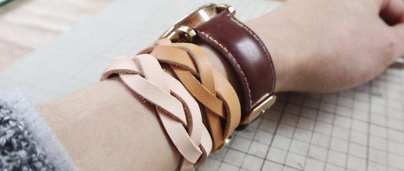 手工皮具皮艺植鞣革养牛编织手链的制作