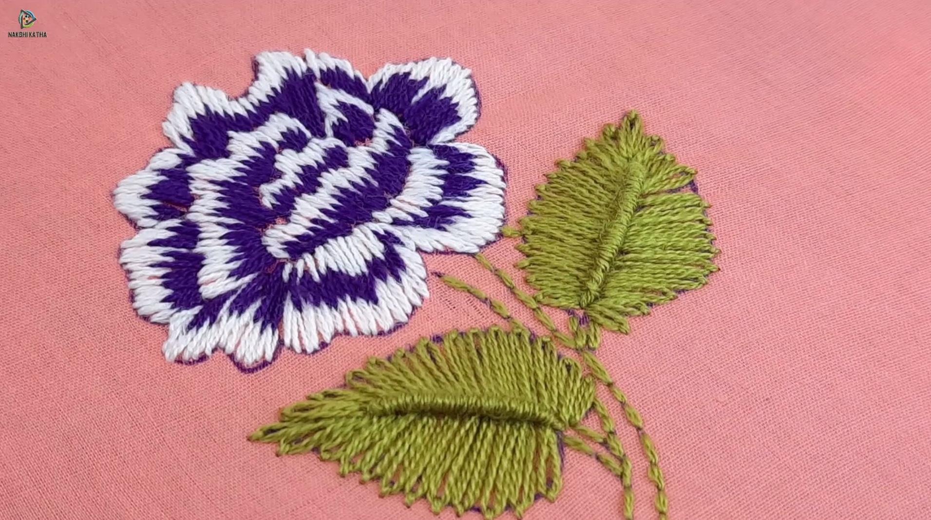 初学者刺绣视频教程:三种颜色一种针法,绣出美丽自然的玫瑰花