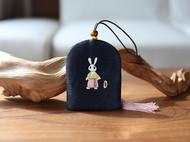 花暖 原创设计 手工刺绣 十二生肖钥匙包民族风配饰中国风礼物 兔