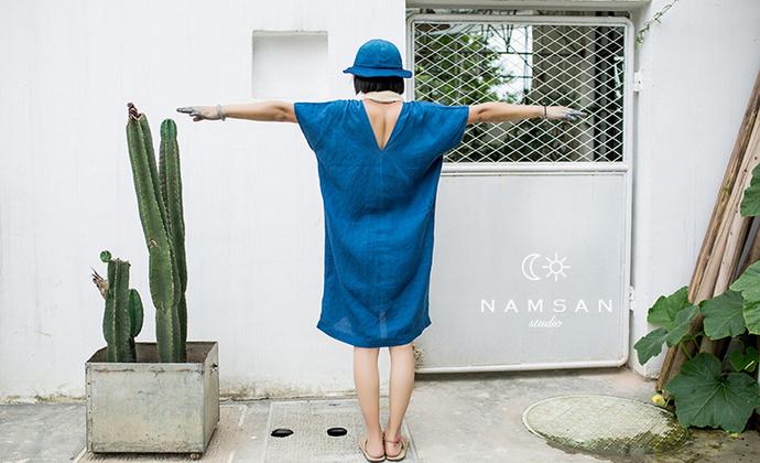 南山草木染 namsan indigo 植物蓝染雨露麻亚麻蓝色连衣裙长裙