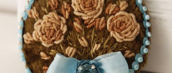 俄罗斯风情的立体花卉刺绣胸针制作图解