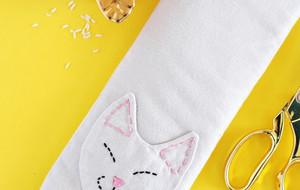 DIY软趴趴的呆萌小猫造型大米加热枕(内附图纸与藏针缝方法)