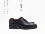 守根量脚制作不开胶纯手工固特异技术商务正式极简纯黑色无需系带套脚皮质质保终身鞋赠护理套装