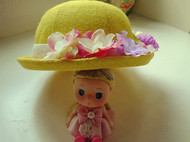 原创森系花朵黄色英伦百搭小礼帽女夏天卷边出游帽