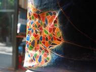 建筑系列:西班牙的骄傲-高迪:涡纹蓝 单肩双带手工皮长挎包(琴谱包) [FS-KB058]