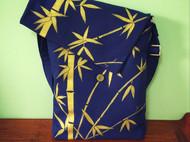 原创手绘包藏青色帆布单肩斜跨竖款方包文艺彩绘竹子挎包新款包邮