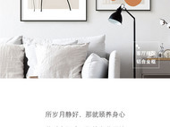 手绘线条人物 & 橘子:现代北欧风家居客厅装饰画/挂画(铝合金框款)