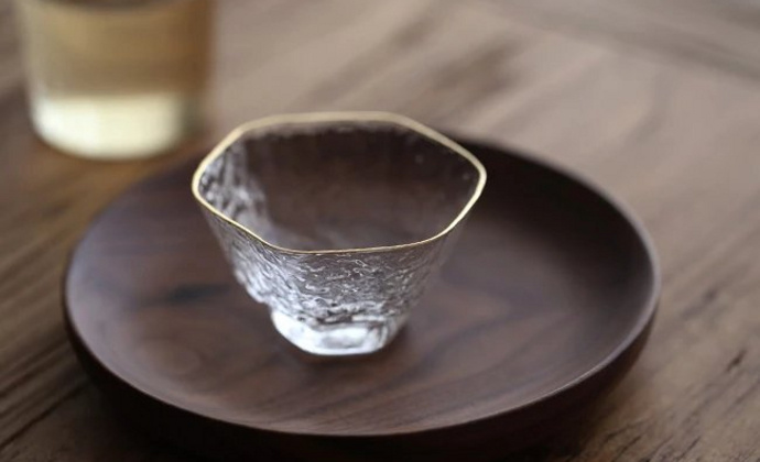 日本原装进口六角金边杯耐热玻璃金线杯东洋佐佐木锤纹水晶茶杯