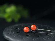S925银镀白金天然南红玛瑙水红樱桃红耳线耳环